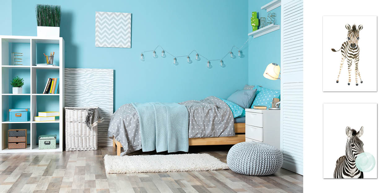 blue zebra kids room